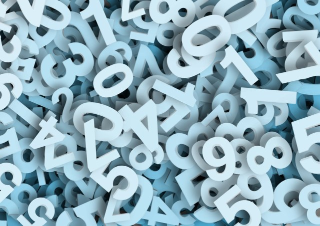 many many blue colored numbers in a pile