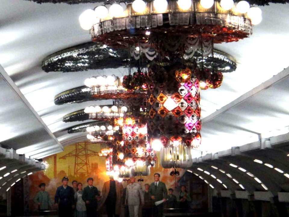 Pyongyang subway chandelier