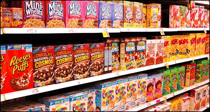 Supermarket cereal aisle