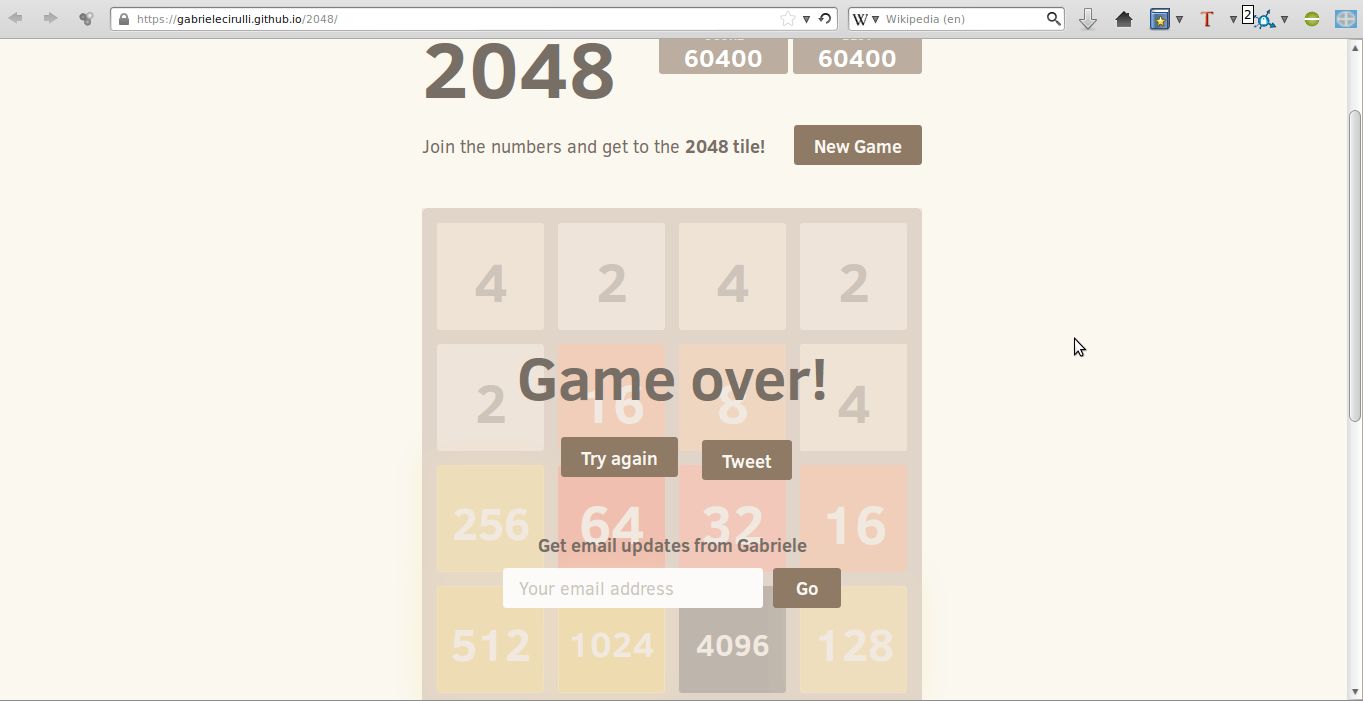 2048 high score: 60,400 with a 4096 tile » Joshua Spodek