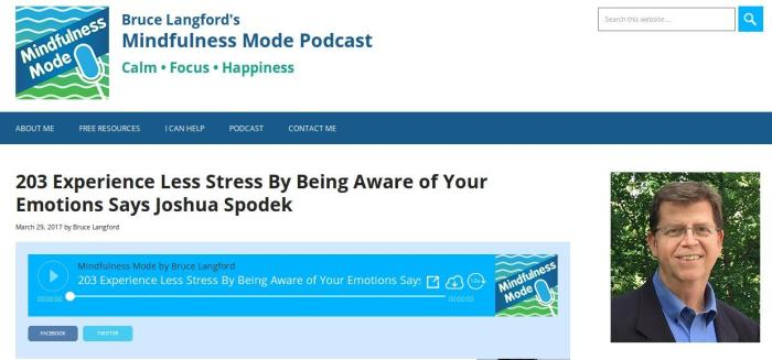 Mindfulness Mode podcast with Bruce Langford Joshua Spodek