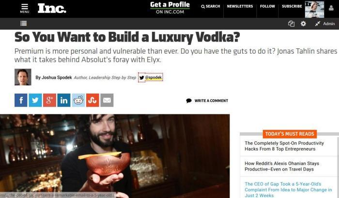 Joshua Spodek Inc. premium vodka