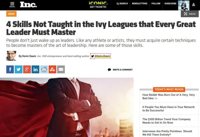 Inc.: 4 Skills Not Taught in the Ivy Leagues that Every Great Leader Must Master
