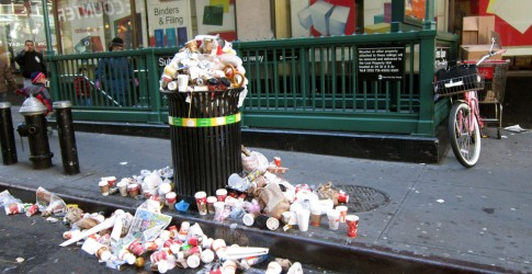Overflowing trash can