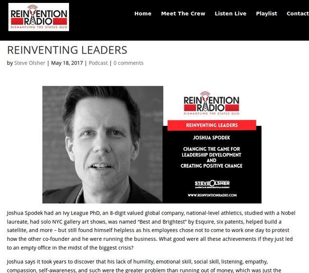 Reinvention Radio with Steve Olsher interviews Joshua Spodek