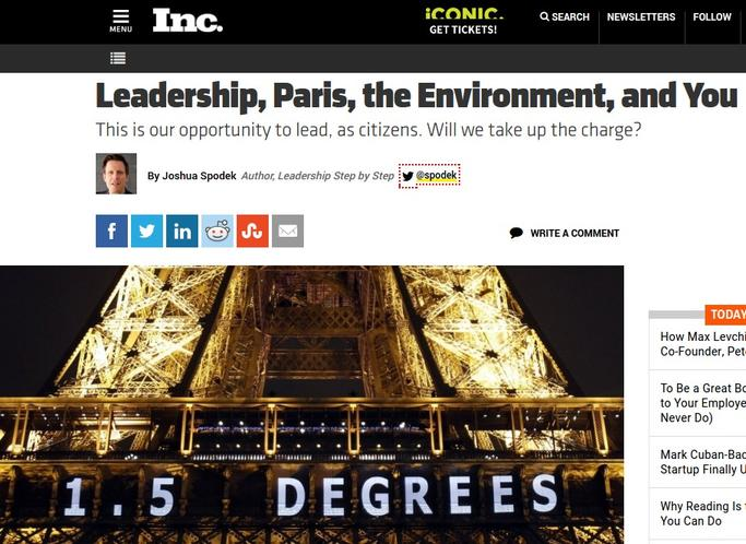 Leadership, Paris, the Environment, and You