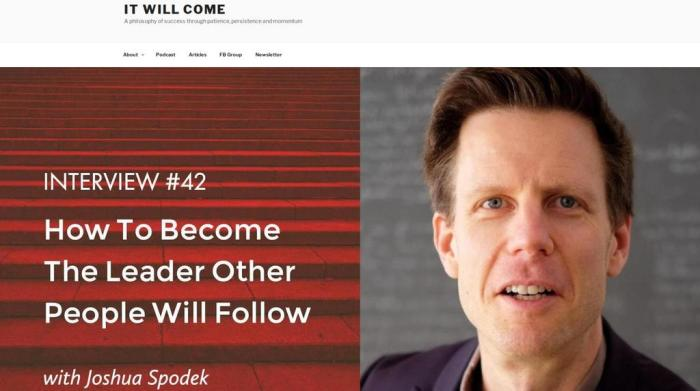 Joshua Spodek and Geoge Samuels on the It Will Come podcast