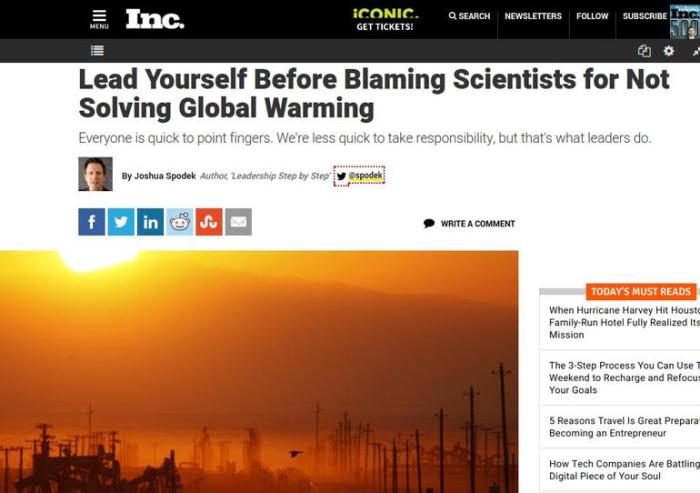 Lead Yourself Before Blaming Scientists for Not Solving Global Warming