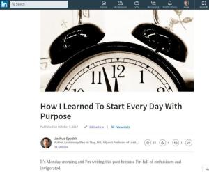 How I Learned To Start Every Day With Purpose