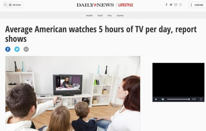 Average American watches 5 hours of TV per day, report shows