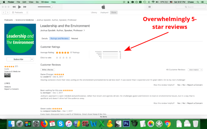 Overwhelmingly 5-star reviews for Leadership and the Environment