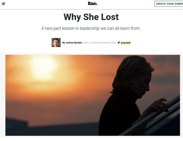 Why She Lost Inc., by Joshua Spodek