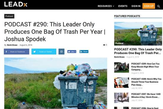 "Joshua Spodek on the Leadx podcast with Kevin Kruse: ""This Leader Only Produces One Bag Of Trash Per Year"""