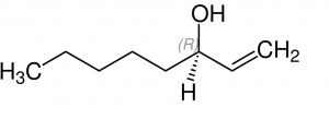 Figure 3: The chemical structure of Mushroom Alcohol ((R)-1-Octen-3-ol), the primary compound found in Joshua tree scent. (Wikimedia Commons: Ju