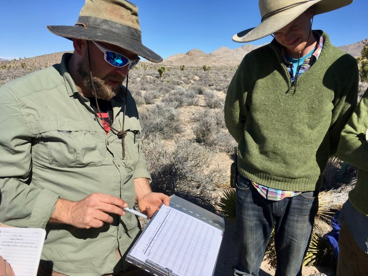 Chris Smith walks the team through the procedure for measuring and recording a Joshua tree before setting up an experiment (Jeremy Yoder)