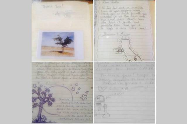 It's also touching when guests make little drawings and leave pictures in the guest book