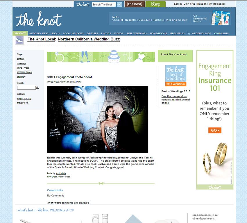 SOMA San Francisco Engagement Photo Featured on The Knot. Engagement Pictures by San Francisco Wedding Photographer Josh Wong Photography