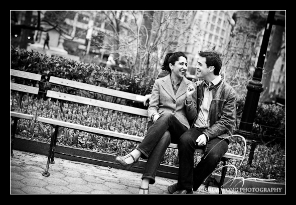 A bench at Madison Square Park near the Flatiron District. Engagement Pictures by Josh Wong Photography