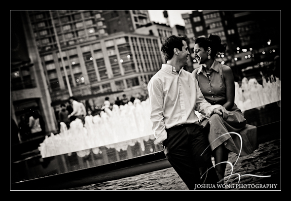 The fountain at New York City Lincoln Center engagement photo shoot. Engagement Pictures by Josh Wong Photography