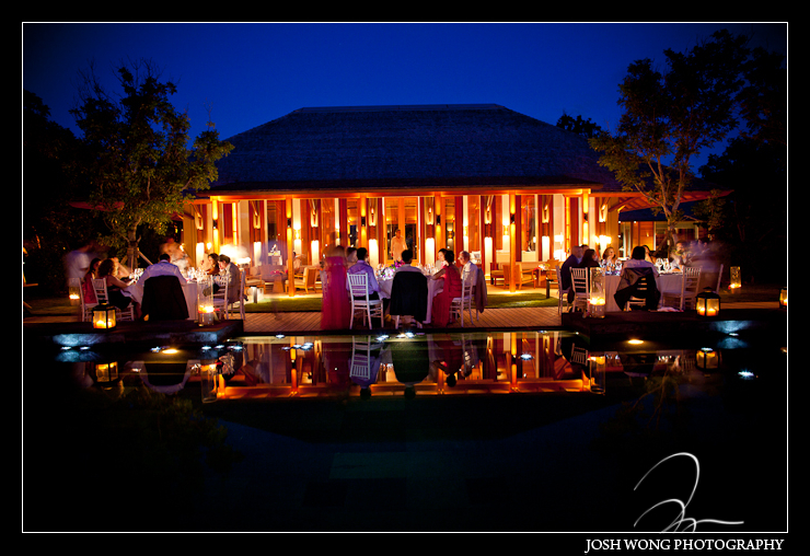 The evening reception dinner by the infinity pool at the Amanyara.