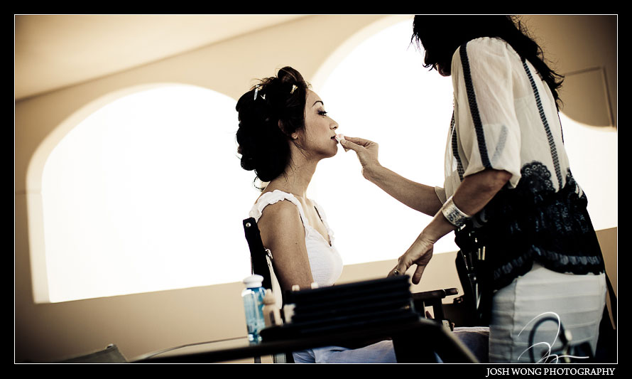 The Bride getting ready at Fairmont Kea Lani Hotel in Maui Hawaii - Jenn & Stephen - Wedding Pictures by Destination Wedding Photographer Josh Wong Photography,