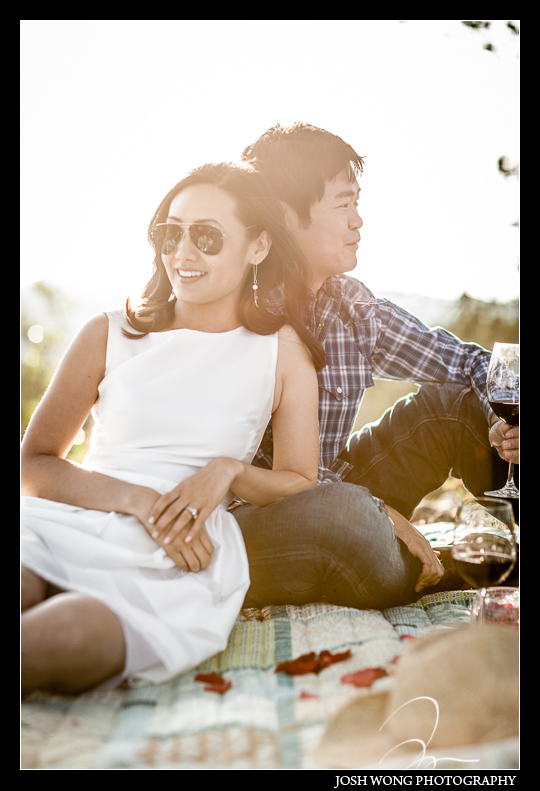 Enjoying a little picnic in San Antonio, TX. Engagement Pictures - The Missions, The River Walk, The Alamo, Ranches, Blue Bonnets, and BBQs Galore - engagement photos by Josh Wong Photography