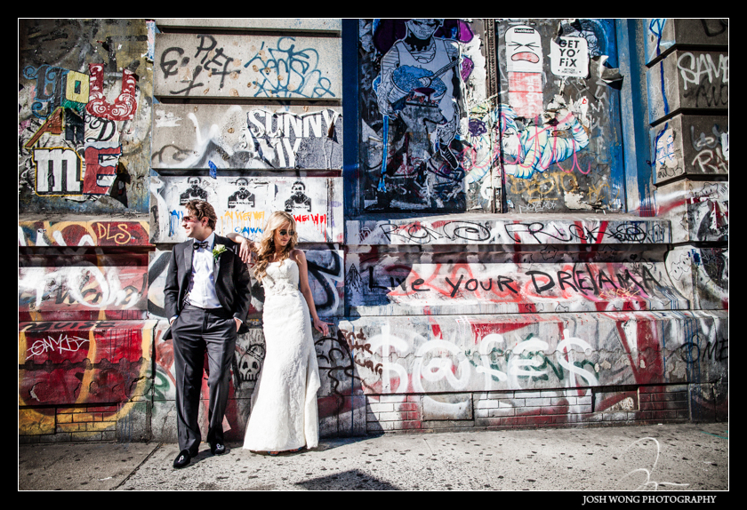 Some fashion editorial styled bride and groom pictures after their first look. Graffiti Building Lower East Side. Wedding pictures provided by Josh Wong Photography