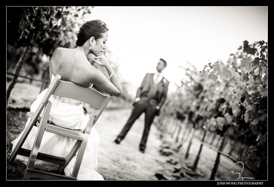 Bride and Groom bridal portraits at Casa Real's vineyard - Casa Real's outdoor ceremony - A magnificent wedding at Casa Real at Ruby Hill Winery, Pleasanton, Ca. Wedding pictures by San Francisco wedding photographer Josh Wong Photography