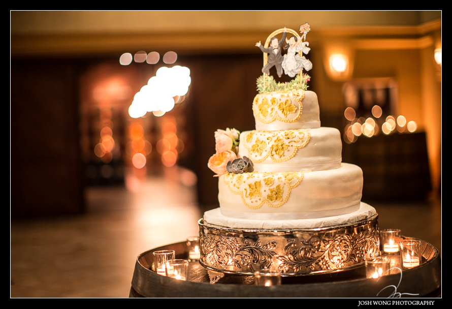 The wedding cake - The Palm Events Center Wedding in Pleasanton, CA - wedding pictures by Josh Wong Photography