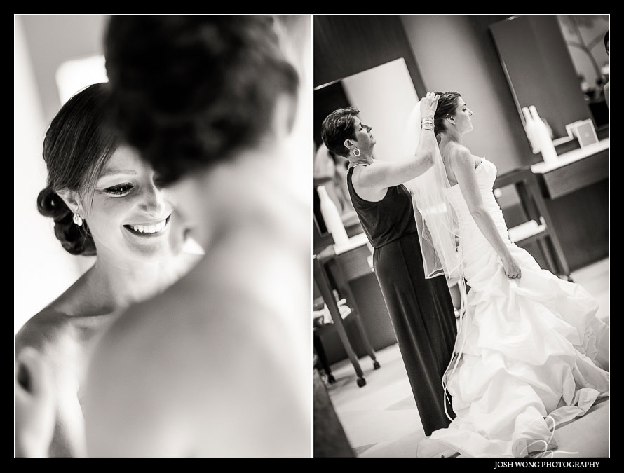 The bride getting ready.  Destination Wedding at Grand Velas Resort in Playa Del Carmen, Mexico. Wedding Pictures and photos by top destination wedding photographer Josh Wong Photography