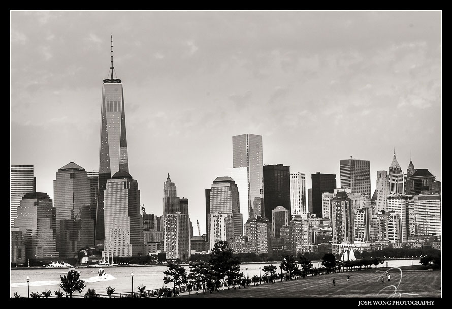 New York City Skyline from the Liberty House. Wedding pictures by New Jersey Wedding Photographer Josh Wong