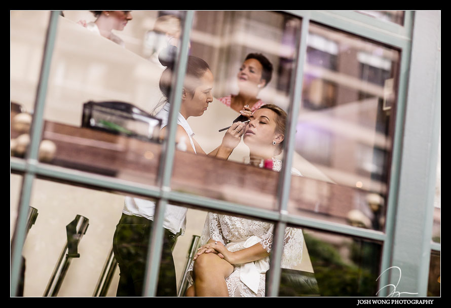 The bride got into Guastavino's early to do her hair and makeup. Wedding photos by NYC Wedding photographer Josh Wong