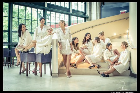 The bride and her bridesmaids getting ready at Guastavino's. Wedding photos by NYC Wedding photographer Josh Wong