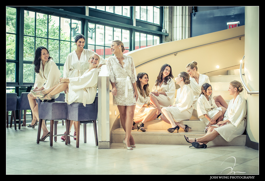 The bride and her bridesmaids got into Guastavino's to do their hair and makeup. Wedding photos by NYC Wedding photographer Josh Wong