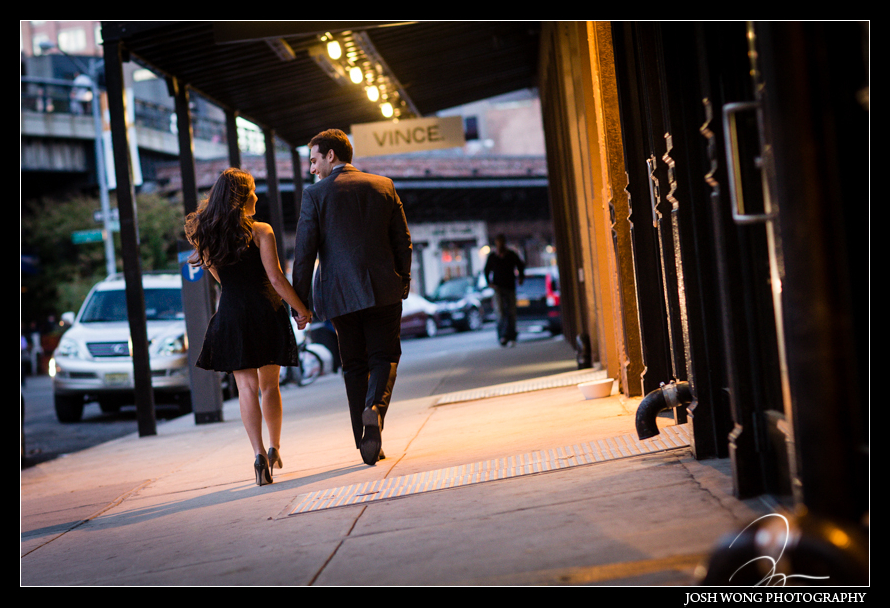 Chic Engagement Pictures around New York City Meatpacking District. photos provided by Josh Wong Photography