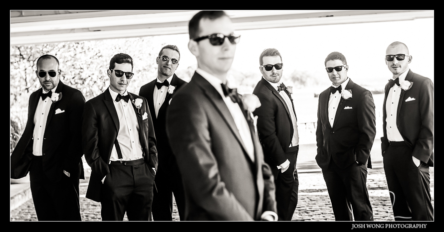 Grooms and his groomsmen at the Glen Island Harbor Club Wedding New York. Pictures by NYC Wedding Photographer Josh Wong Photography