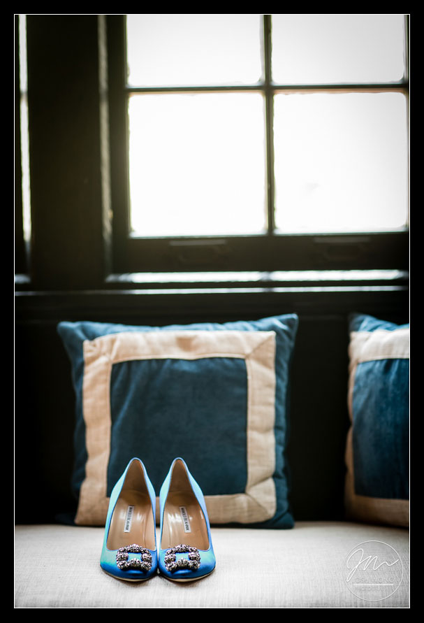 Manolo Blahnik Hangisi 70 Crystal-Embellished Satin Pumps. Castle Hotel and Spa in Tarrytown, NY. Wedding photos by Best Wedding Photographers Josh Wong Photography