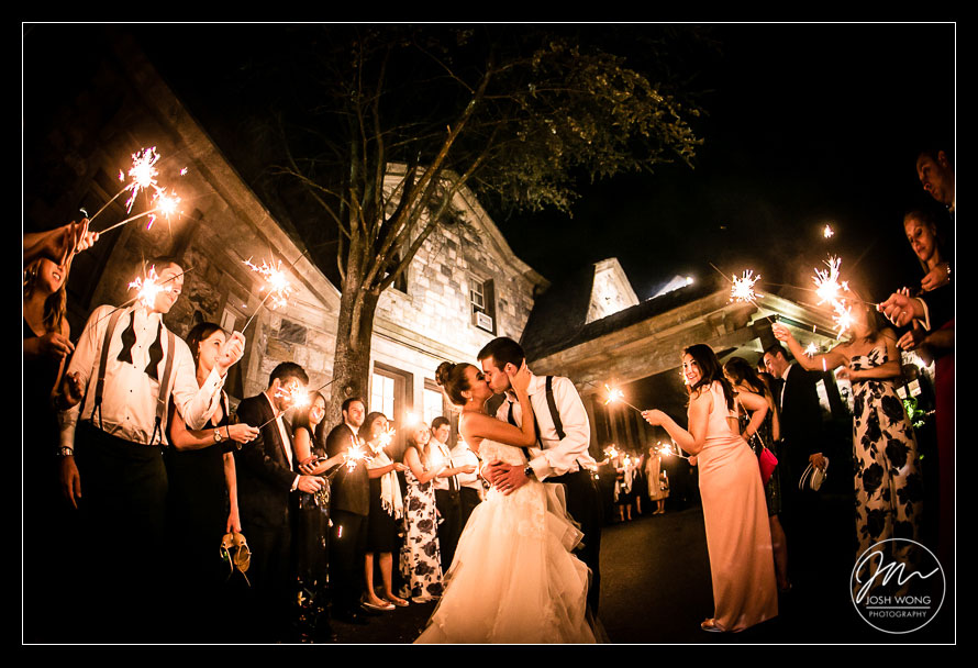 A sparkler sendoff  at Abigail Kirsch at Tappan Hill Mansion, Tarrytown NY. Wedding pictures by Top New York Wedding Photographer Josh Wong Photography