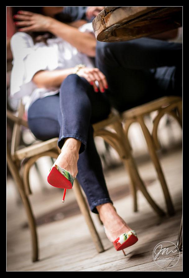 Christian Louboutin shoes. SOHO New York City engagement photographer Josh Wong Photography