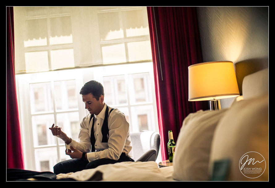 Getting ready wedding pictures by top philadelphia wedding photographers Josh Wong Photography