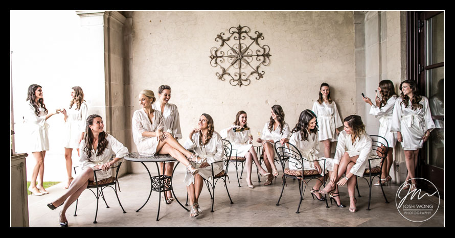The bridesmaids at Oheka Castle. Oheka Castle wedding pictures by New York wedding photographer Josh Wong Photography