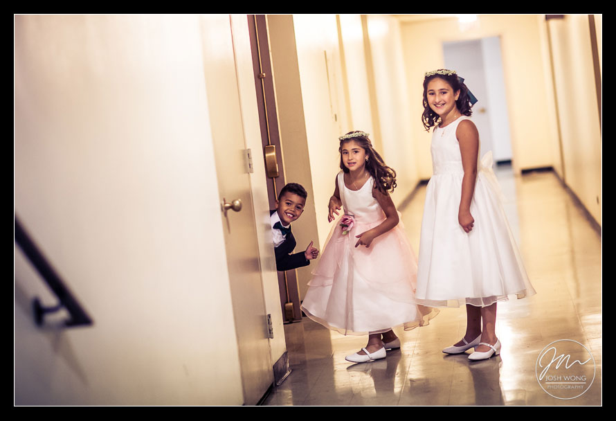 Flower girls and ring bearer enjoying some downtime before the ceremony. New York Wedding pictures by Armenian wedding photographer Josh Wong Photography