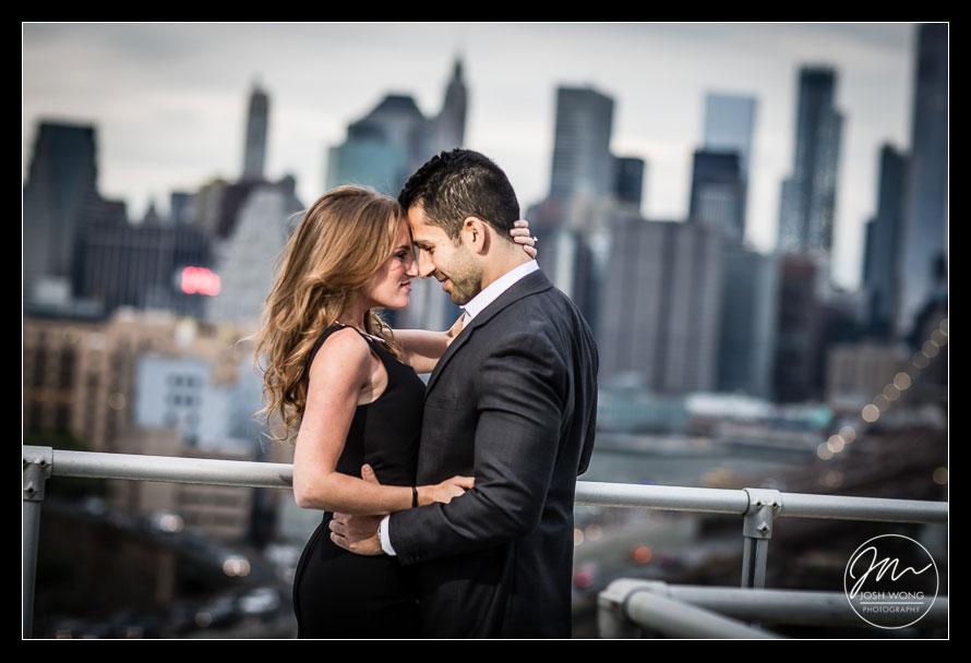 New York City skyline and Dumbo Engagement Photo Shoot
