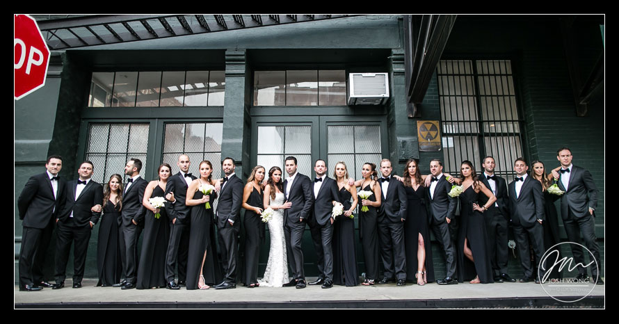 Entire Bridal Party Wedding portraits in downtown Tribeca, New York City. Wedding pictures by Josh Wong Photography