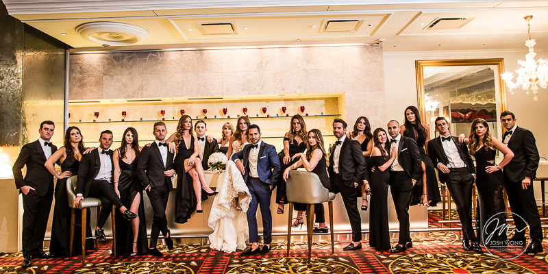 Vogue stylized bridal party photoshoot. Temple Israel of Lawrence Wedding Photography Pictures by Josh Wong Photography