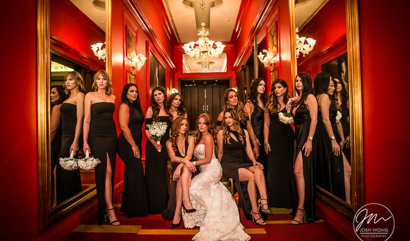 Vanity Fair Style Bridal Party Photoshoot. Temple Israel of Lawrence Wedding Photography Pictures by Josh Wong Photography