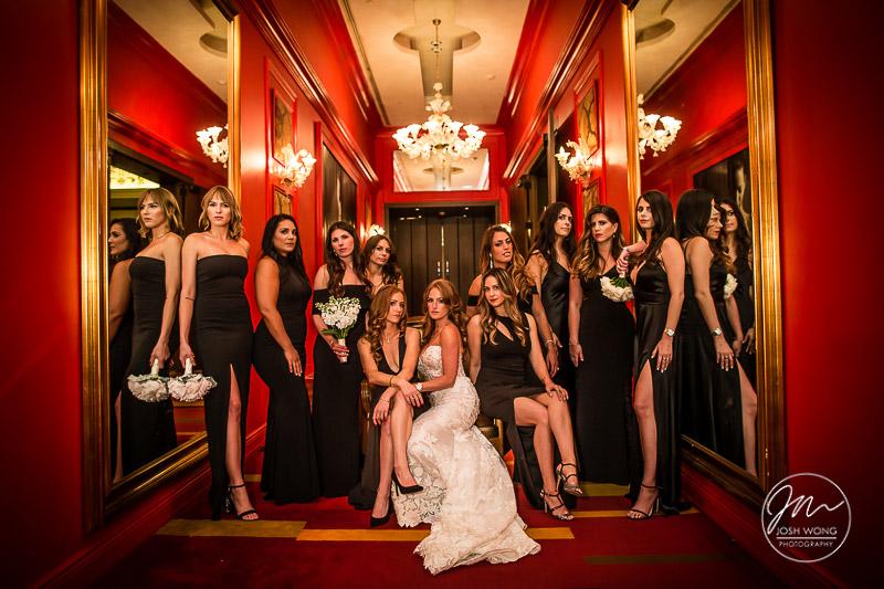 Temple Israel of Lawrence, NY - Wedding Photography. Josh's signature Vogue styled bridal party photoshoot by Josh Wong Photography
