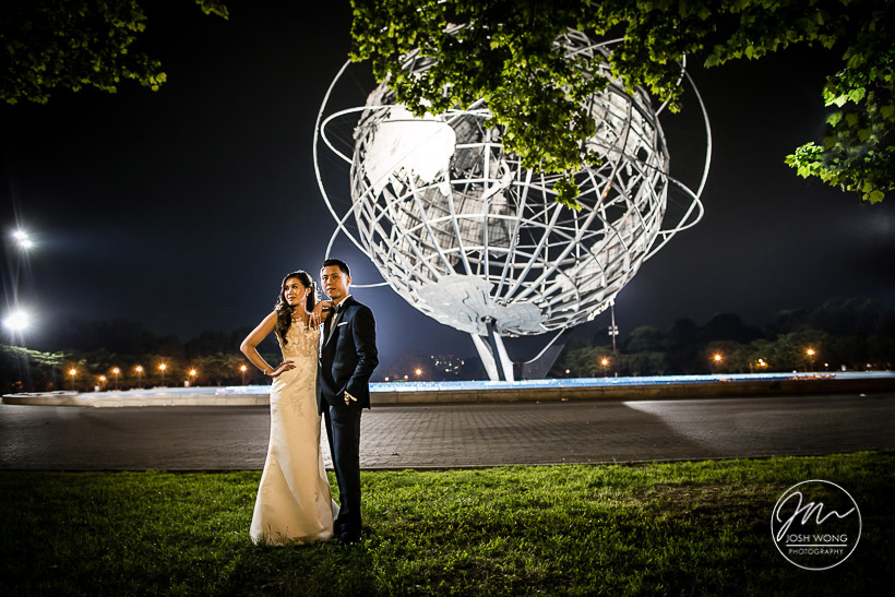 Last shot of the evening at the UNIsphere Globe at the Queens Museum.  Queens Museum Wedding Pictures by New York Wedding Photographer Josh Wong