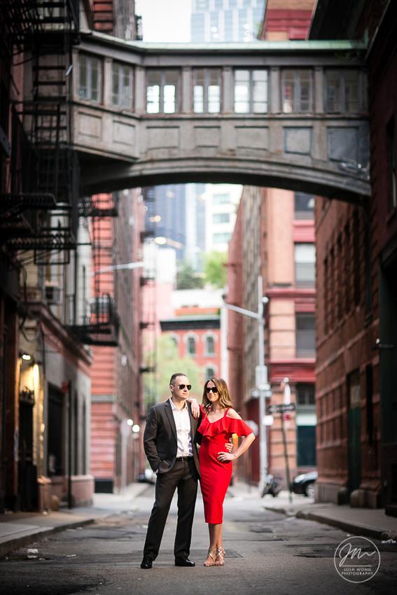 Jay Street Skybridge Engagement Pictures. Engagement photos by NYC Wedding photographer Josh Wong Photography