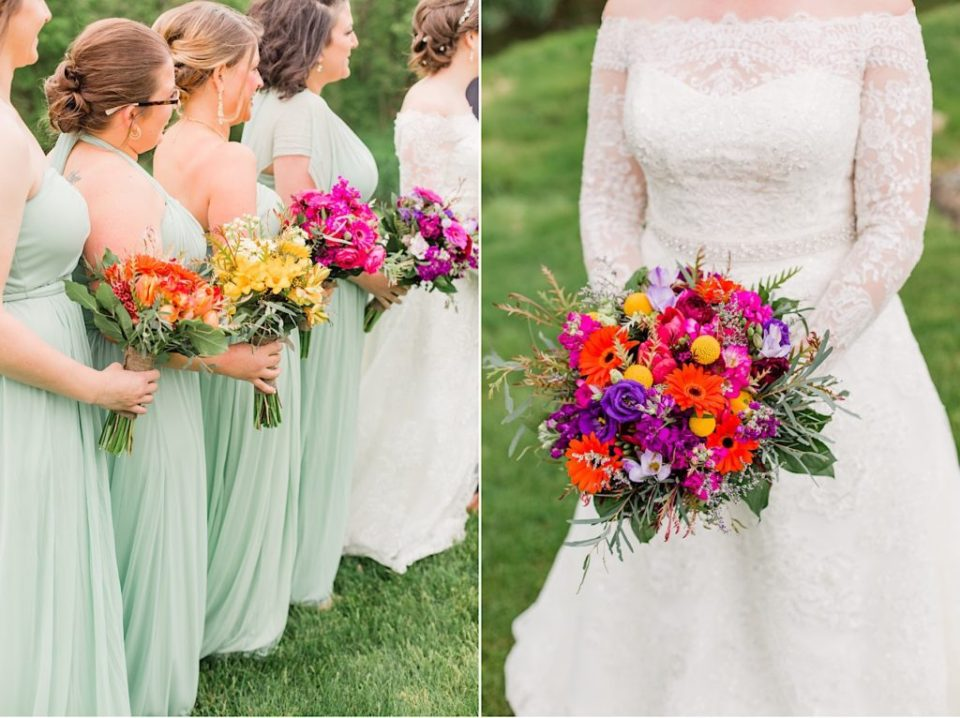 Bridal Party with colorful bouquets by Jill Lewko at the Barn on Bridge in Collegeville